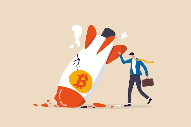 Colapso do preço do bitcoin, conceito de preço de volatilidade da criptomoeda Vetor Premium