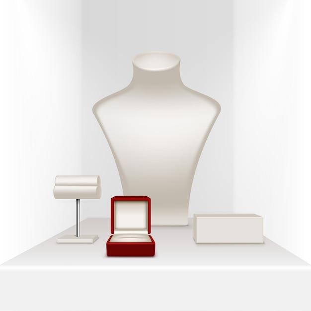 Colar branco brincos pulseira stand para jóias com caixa vermelha Vetor Premium