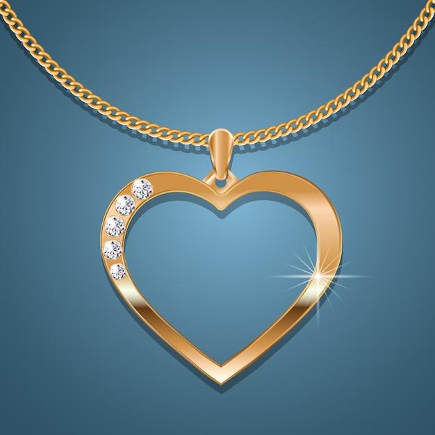 Colar de coração de ouro em uma corrente de ouro. Vetor Premium