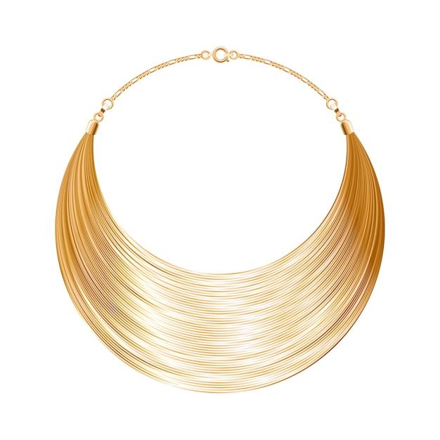 Colar ou pulseira arredondada simples em ouro metálico. acessório de moda pessoal. ilustração. Vetor Premium