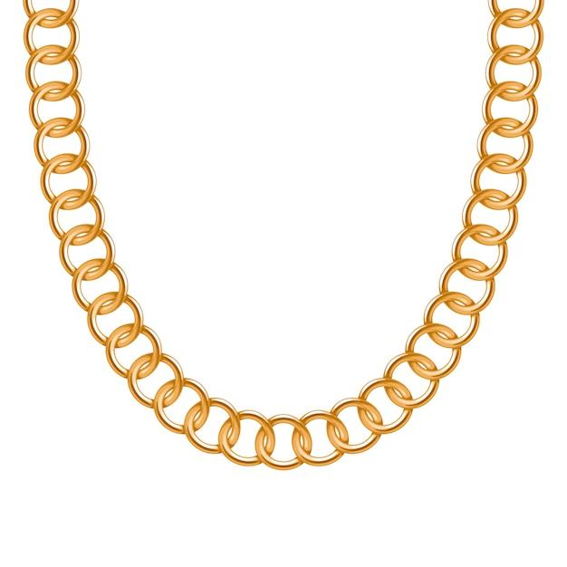 Colar ou pulseira metálica dourada de corrente grossa. acessório de moda pessoal. escova incluída. Vetor Premium