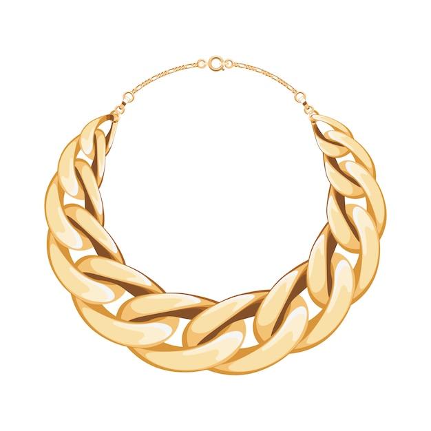 Colar ou pulseira metálica dourada de corrente grossa. acessório de moda pessoal. ilustração. Vetor Premium