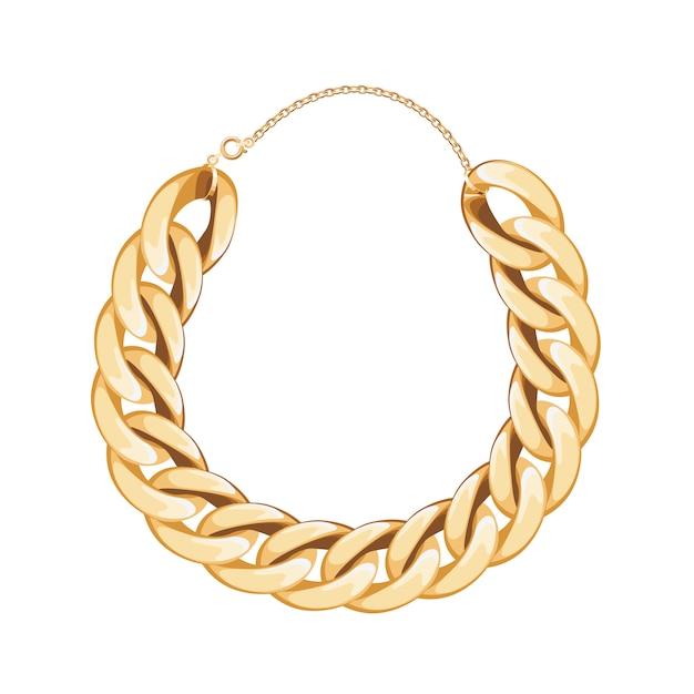 Colar ou pulseira metálica dourada de corrente grossa. acessório de moda pessoal. Vetor Premium