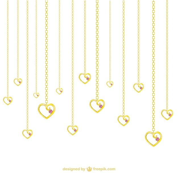 Colares de ouro em forma de coração Vetor grátis
