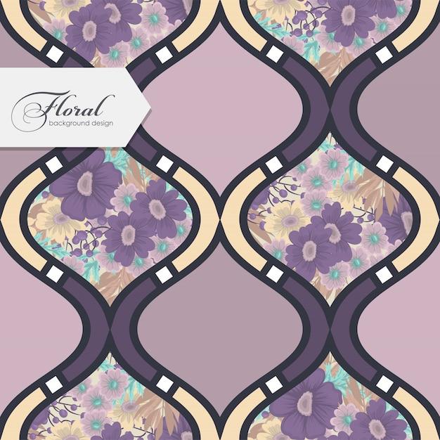 Colcha de retalhos abstrata com flores papel de parede padrão sem emenda Vetor grátis