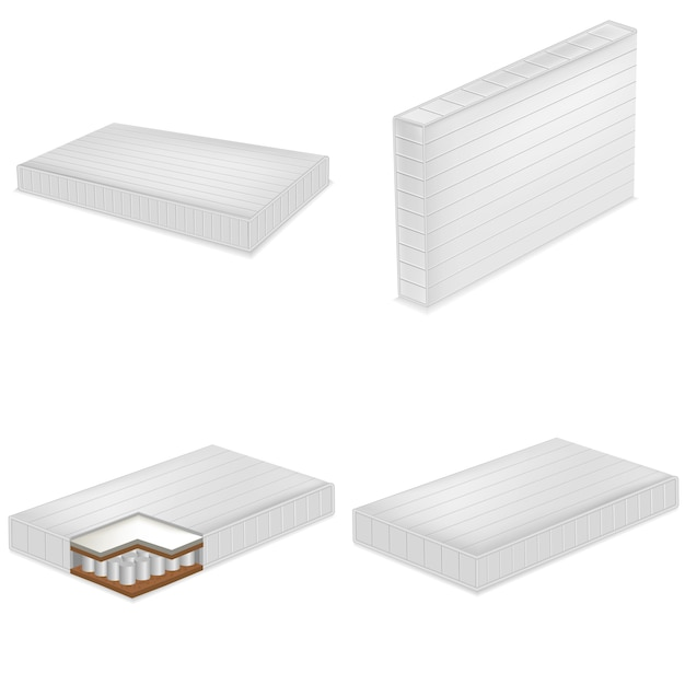 Colchão cama cama mockup set. ilustração realista de 4 modelos de cama de colchão de cama para web Vetor Premium