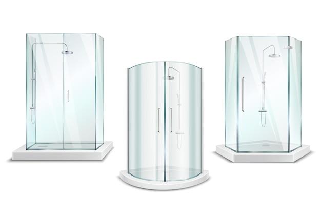 Coleção 3d realista de cabine de duche com chuveiro isolado brilhante unidades com portas em branco Vetor grátis