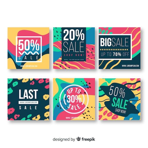 Coleção abstrata colorida do post do instagram da venda Vetor grátis