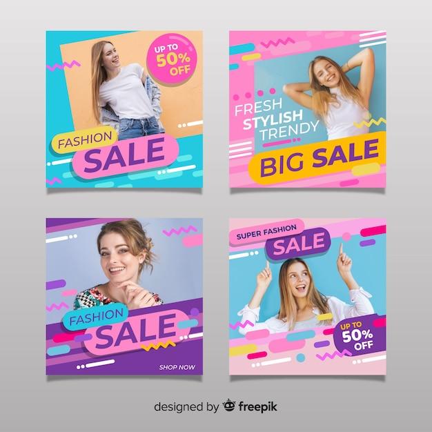 Coleção abstrata de postagens do instagram de venda Vetor grátis