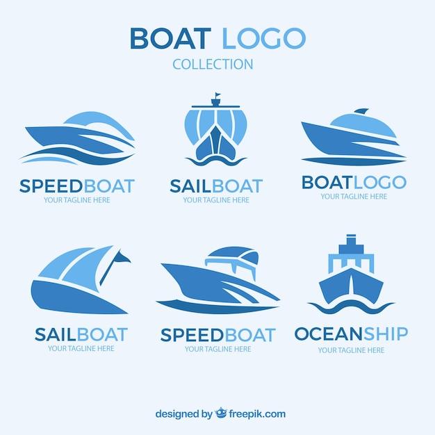 Coleção abstrata do logotipo do barco Vetor grátis