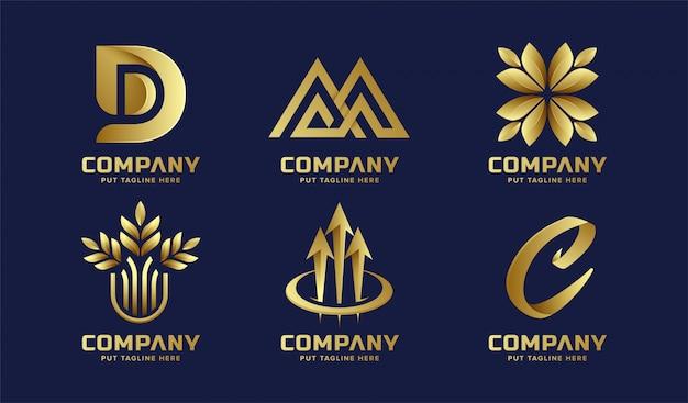 Coleção abstrata logotipo dourado de negócios Vetor Premium