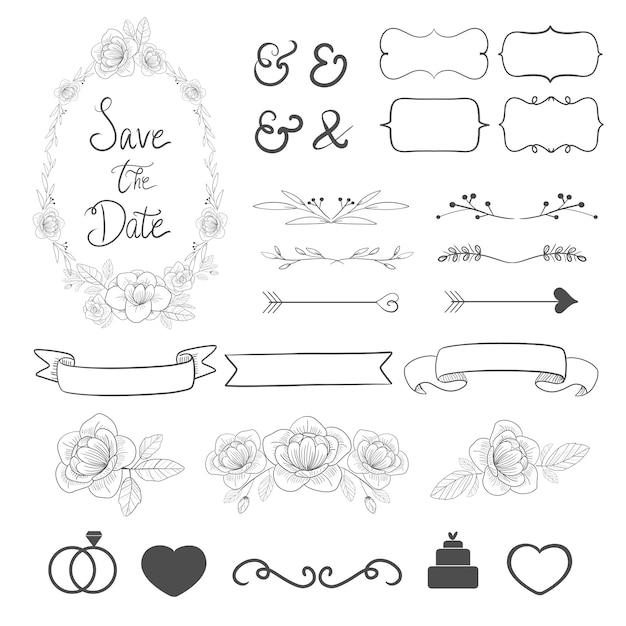 Coleção ajustada do ornamento do casamento para a decoração do cartão do convite. Vetor Premium