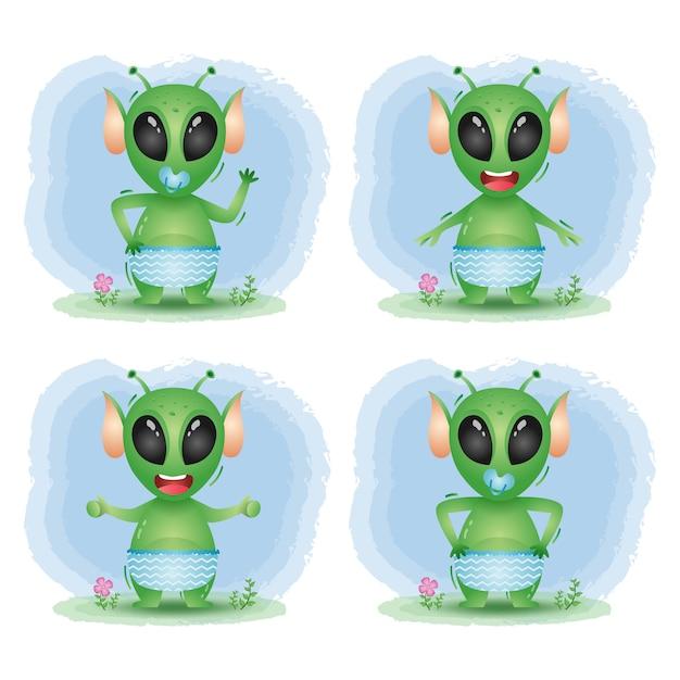 Coleção alienígena bebê fofo Vetor Premium