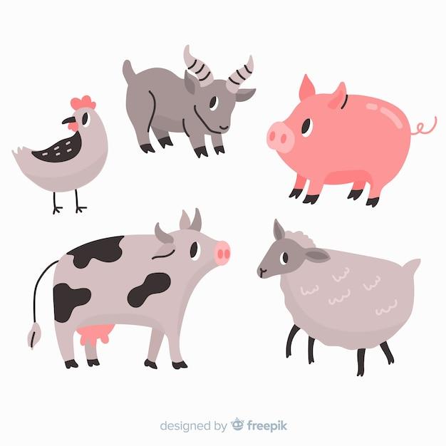 Coleção animal bonita com porco e vaca Vetor grátis
