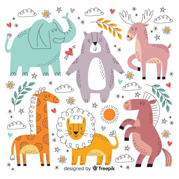 Coleção animal bonito dos desenhos animados Vetor grátis