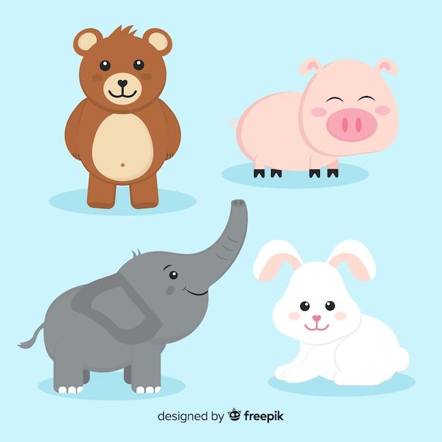 Coleção animal com urso, porco, elefante e coelho Vetor grátis