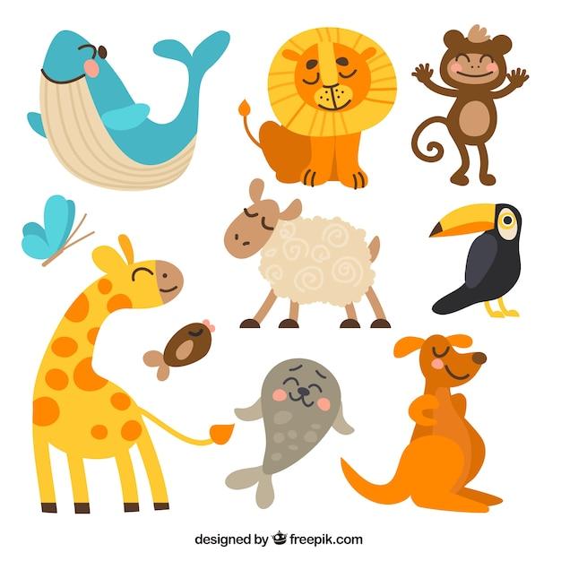 Coleção animal engraçado Vetor grátis