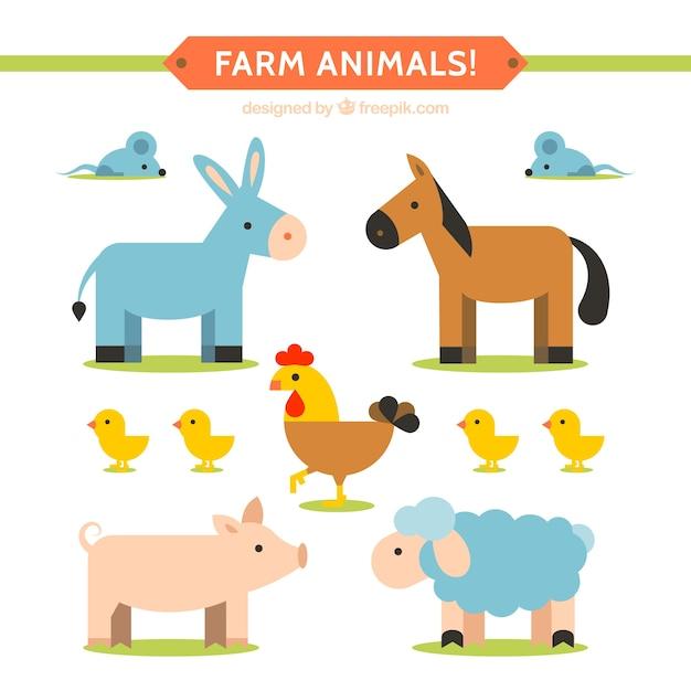 Coleção animal farm plana Vetor grátis