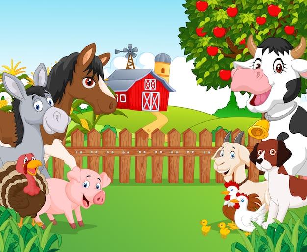 Coleção animal feliz dos desenhos animados Vetor Premium