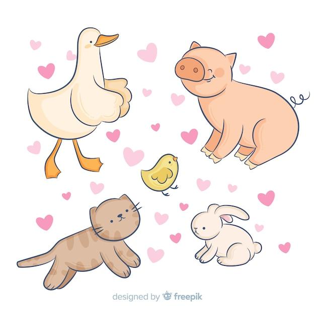 Coleção animal rodeada de corações Vetor grátis