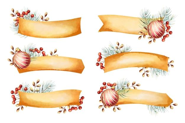 Coleção aquarela de fitas de natal Vetor Premium