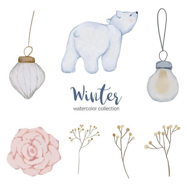 Coleção aquarela de inverno com itens para uso doméstico e urso branco Vetor grátis