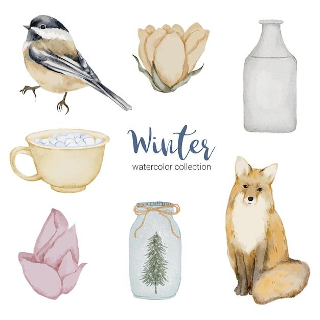 Coleção aquarela de inverno com itens para uso doméstico, pássaros e raposas Vetor grátis