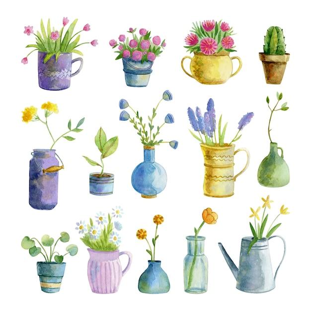 Coleção aquarela de plantas de interior e flores em vasos Vetor Premium