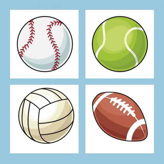 Coleção bolas ícones de esporte Vetor Premium
