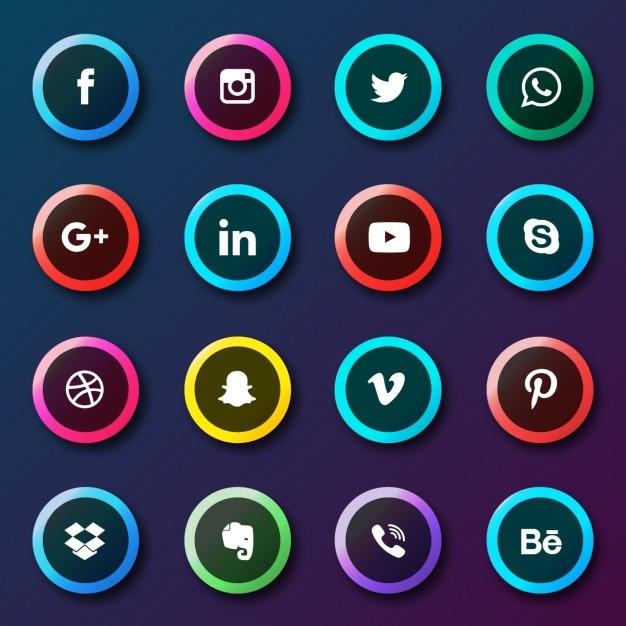 Coleção botões de redes sociais Vetor grátis