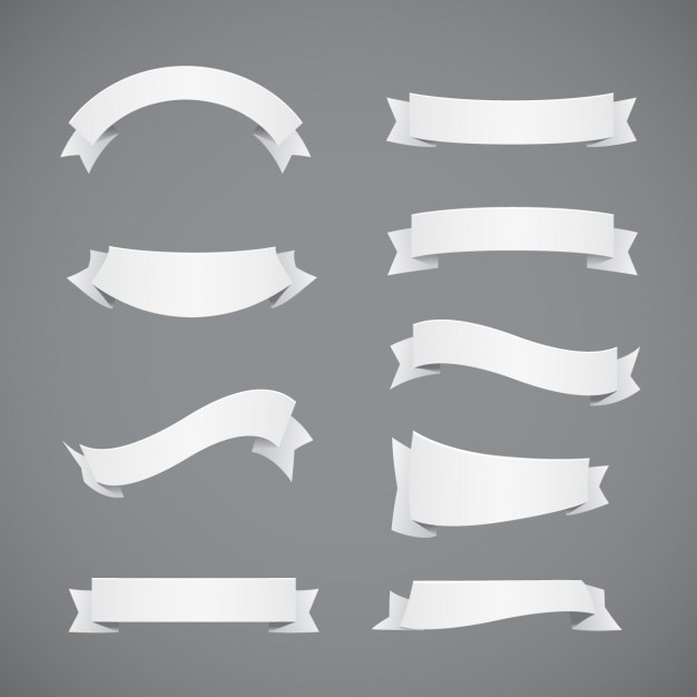 Coleção branca fitas Vetor grátis