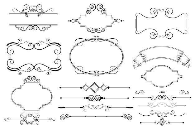 Coleção caligráfica de elementos ornamentais Vetor grátis