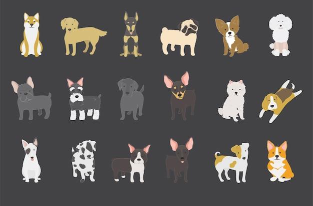 Coleção cão Vetor grátis
