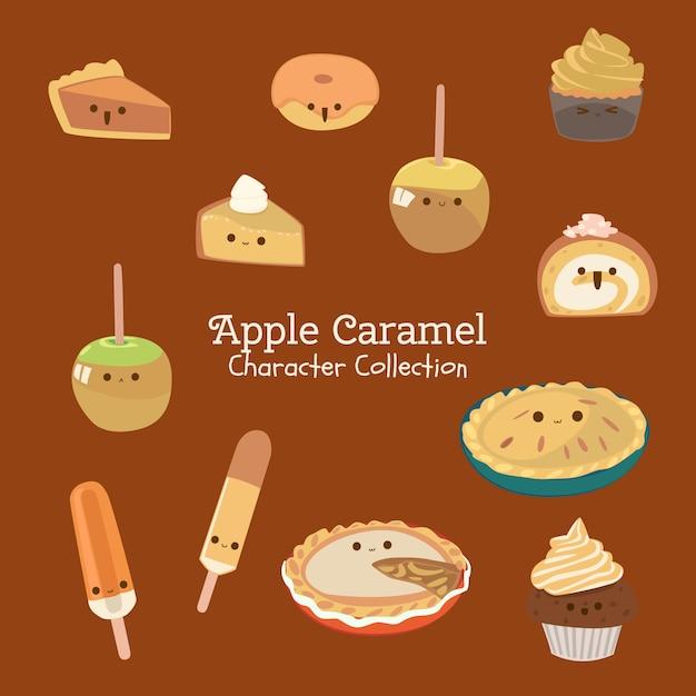 Coleção caráter apple caramel Vetor Premium