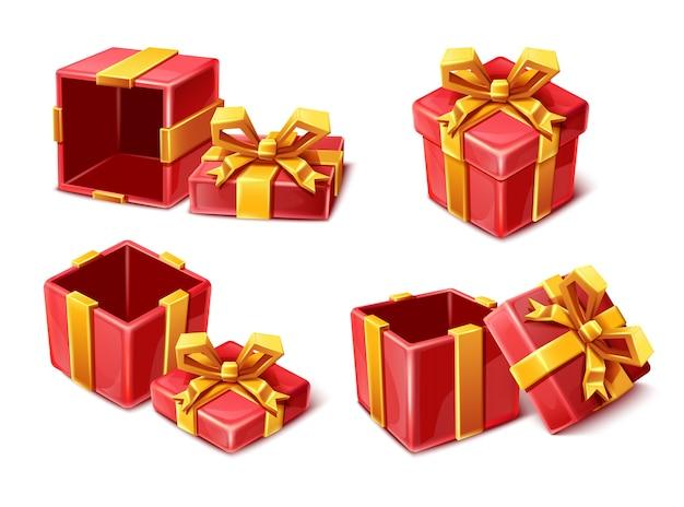 Coleção cartoon estilo vermelho caixas de celebração com fitas douradas abertas e fechadas sobre fundo branco. Vetor Premium