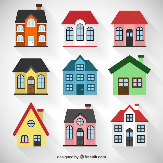 coleção casas coloridas baixar vetores grátis