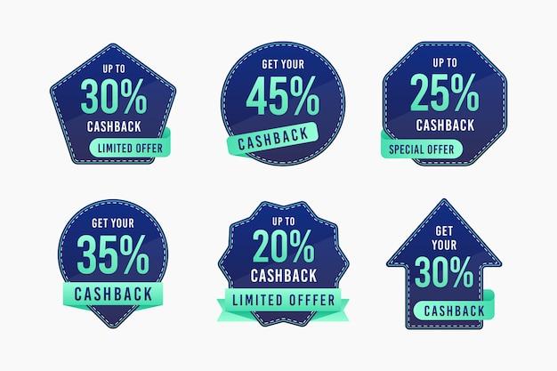 Coleção cashback de etiquetas com desconto Vetor grátis