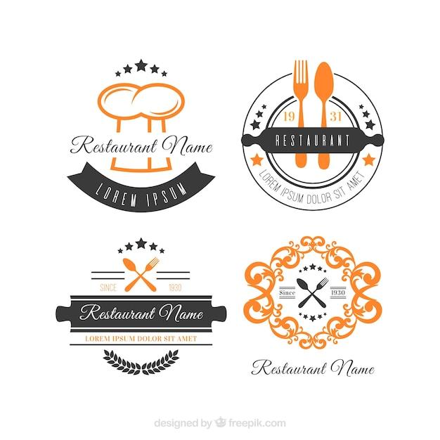 Coleção clássica de logotipos retros de restaurantes Vetor grátis