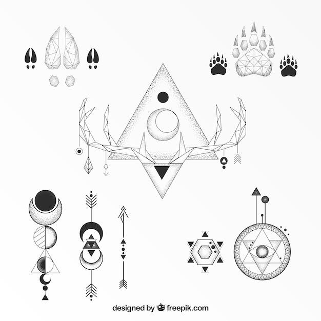 Coleção clássica de tatuagens geométricas étnicas Vetor grátis
