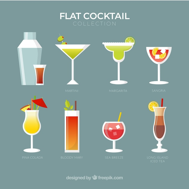 Coleção cocktail colorida com design plano Vetor grátis