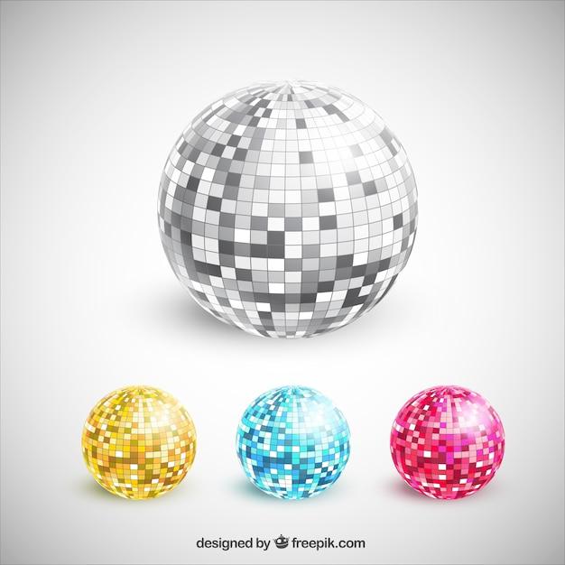 Coleção colorida bolas de discoteca Vetor Premium