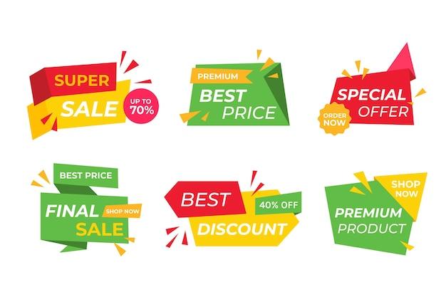 Coleção colorida de banner de vendas Vetor grátis