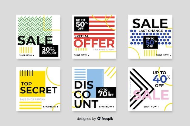 Coleção colorida de banners de venda moderna para mídias sociais Vetor grátis