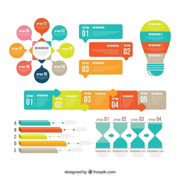 Coleção colorida de elementos infográficos em estilo plano Vetor grátis