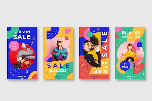 Coleção colorida de histórias de venda do instagram Vetor grátis