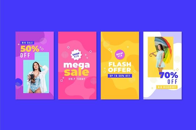 Coleção colorida de histórias do instagram de venda Vetor grátis