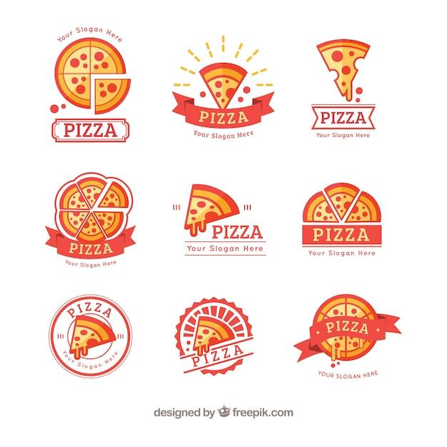 Coleção colorida de logotipos de pizza Vetor grátis