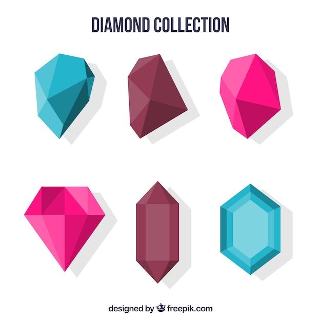 Coleção colorida de pedras preciosas planas Vetor grátis