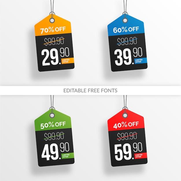 Coleção colorida editável de venda e preço Vetor Premium