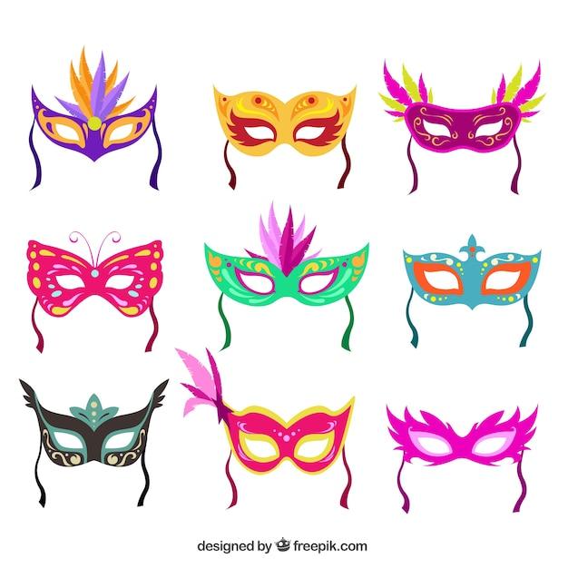 Coleção Colorida Máscaras De Carnaval Vetor Grátis